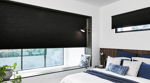 Whisper Shades with Blockout fabric installed in bedroom